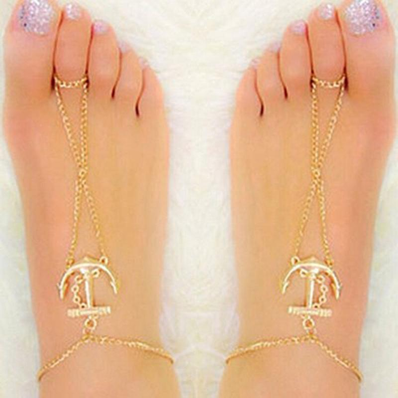 Gold Anchor Charm Anklet Chain For Women Fashion Summer Beach Barefoot Toe Chain Jewelry For Women Gift Drop Shipping