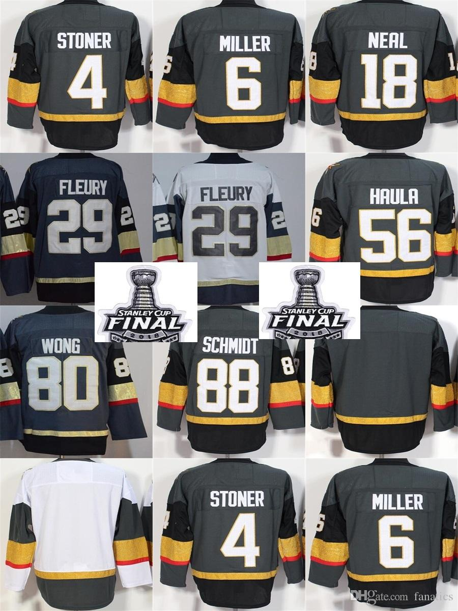 a906263d777 2019 2018 Stanley Cup Final Patch Men Vegas Golden Knights 29 Marc Andre  Fleury Stoner Miller Neal Haula Wong Schmidt Blank Grey Hockey Jerseys From  ...