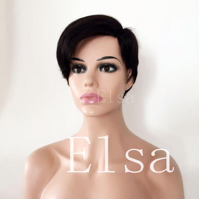 Pixie couper les cheveux naturels humain perruques de cheveux noirs pour les femmes noires avec perruque latérale de taille moyenne Cap Bangs côté partie petites perruques
