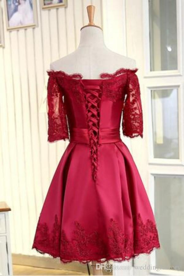 Inexpensive Short Prom Dress Off the Shoulder Lace Appliques Illusion Short Sleeves Corset Lace up Back Homecoming Gradution Party Gowns