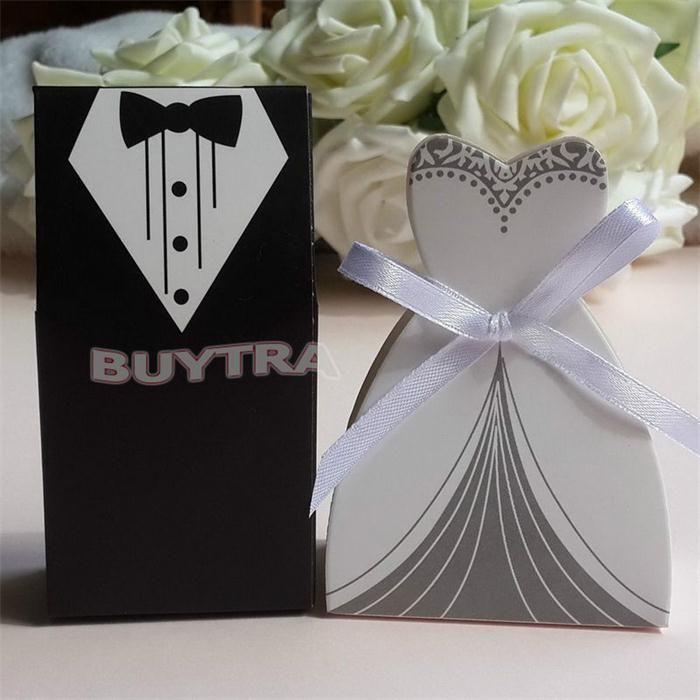 Candy Box Bridal Gift Cases Groom Tuxedo Dress Gown Ribbon Wedding