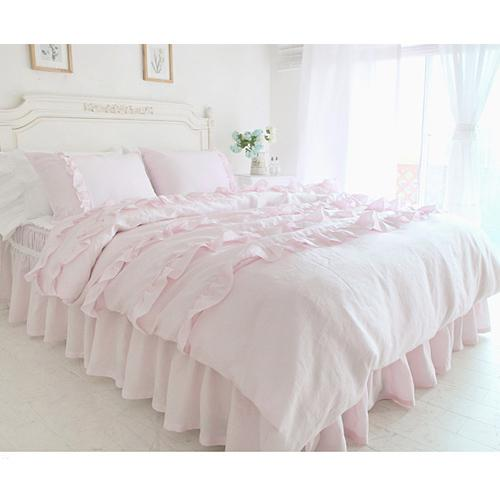 Textile Beautiful Pink Lace Ruffled Comforter Sets Duvet Cover Twin