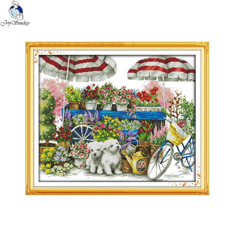 wholesale Sunny flower shop Stamped Cross stitch kits DMC Needlework  Embroidery Cross-Stitch DIY Handwork Fabric 14CT and 11CT