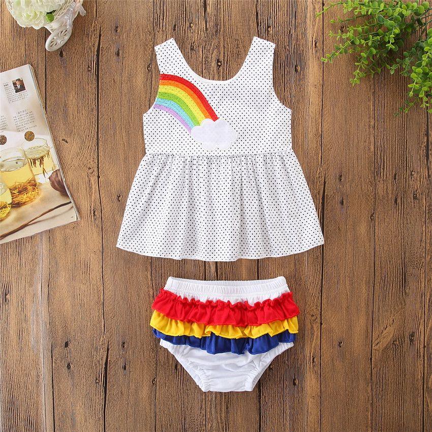 ec7d8f90ecc64 Kids Clothing Black Dot Pattern Girls Clothes Set Fashion Baby Girls  Rainbow Sleeveless Tops Mini Dress +Shorts 2Pcs Infant Girls Outfits