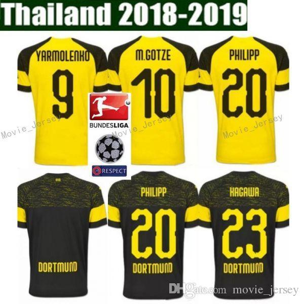 brand new 4c304 31430 2018 2019 Bundesliga FC Borussia Dortmund Jersey Men Soccer 11 GOTZE 11  REUS 22 PULISIC 23 KAGAWA 33 WEIGL Football Shirt Kit Uniform