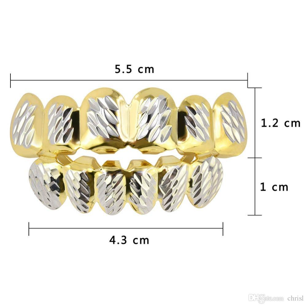 18K Gold Plated Mouth Grillz Hip Hop Teeth Caps 6 Top & Bottom Fang New High Quality Christmas Halloween Gift