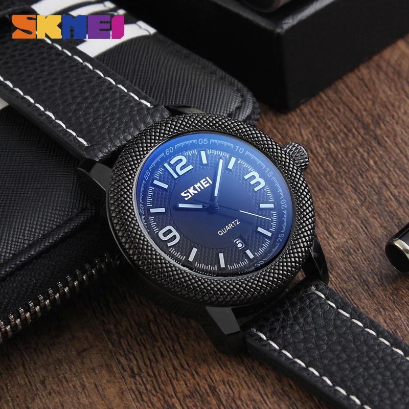 be826542220 Compre Skmei Quartzo Dos Homens Relógio Esportivo Relógio Calendário Relógio  À Prova D  água Pulseira De Couro Relógio Casual Atacado Relogio Masculino  9138 ...