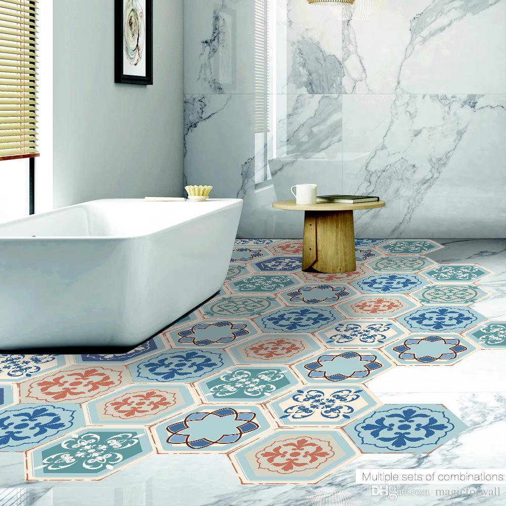 Non Slip Bathroom Floor Tiles India: Retro Style Home Decoration Hexagon PVC Floor Sticker Tile