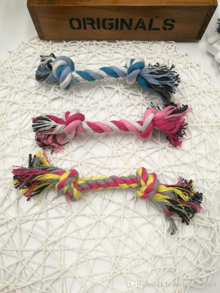 Evcil Köpekler Oyuncaklar Pet Malzemeleri Pet Köpek Yavru Pamuk Chew Knot Oyuncak Dayanıklı Örgülü Kemik Halat 17 CM