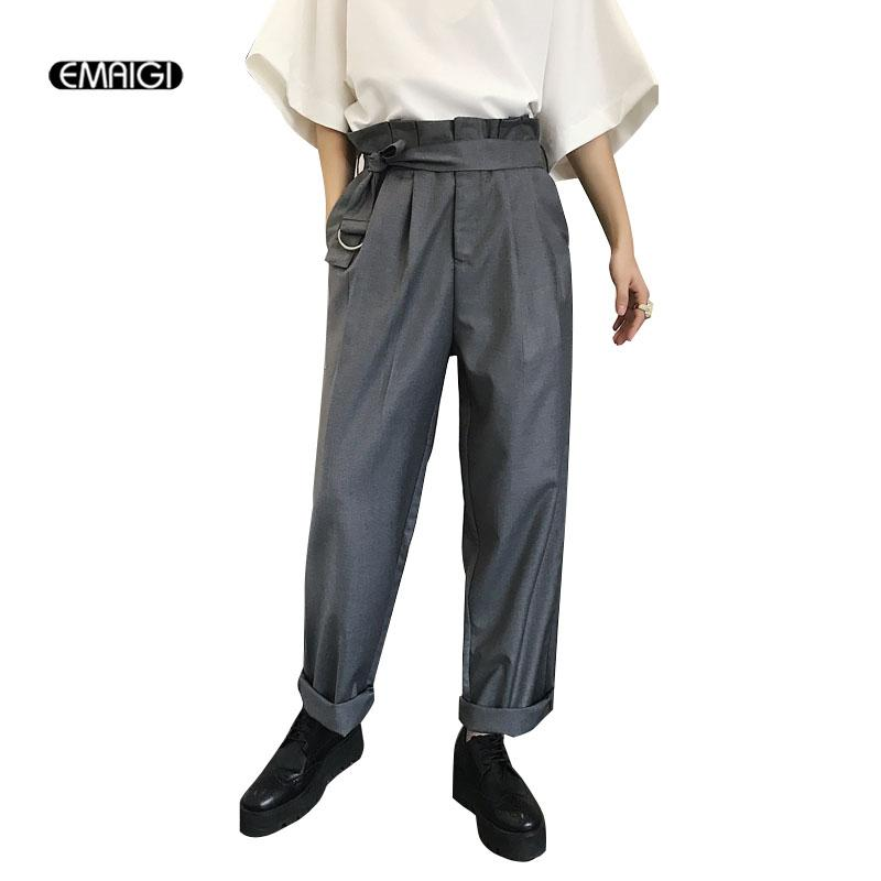 2019 Men Retro Fashion High Waisted Casual Suit Pant Japan Style