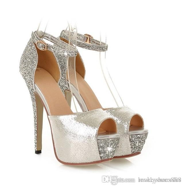 New Bride s Bridal Shoe Platform Bridesmaid Shoes High Heel Peep Toe ... 240c34204e6c