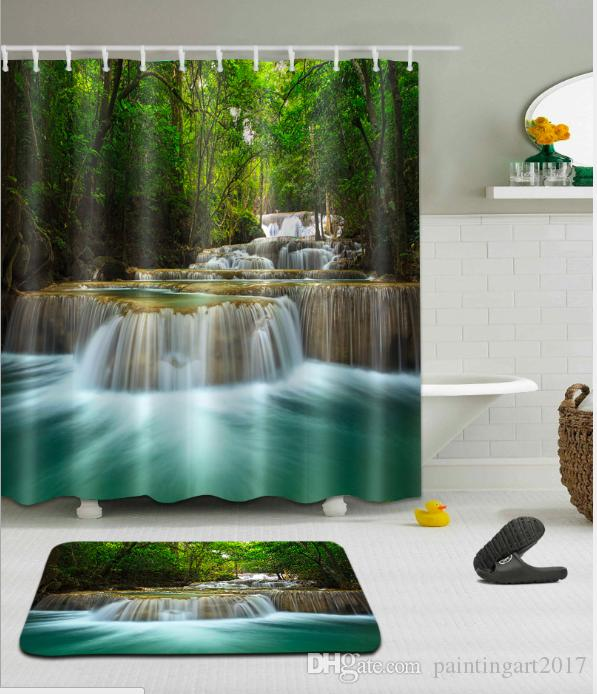 2019 Landscape Shower Curtain Abstract Modern Patterned Background With Green Tree And Ivy Artwork Bathroom Decor Set Hooks Floor Mats Sets From