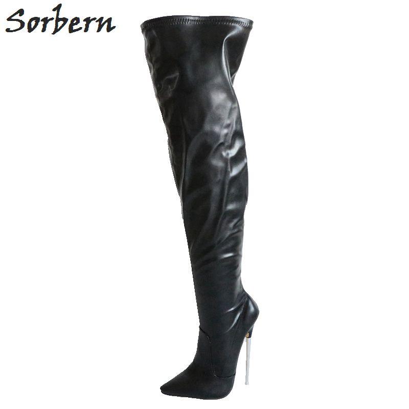 bdc324729bfeb8 Großhandel Sorbern 18 Cm Metall Heels Overknee Stiefel Für Frauen Mode  Schuhe Frauen Med Oberschenkel Hohe Stiefel Spitze Zehen High Heels Von ...
