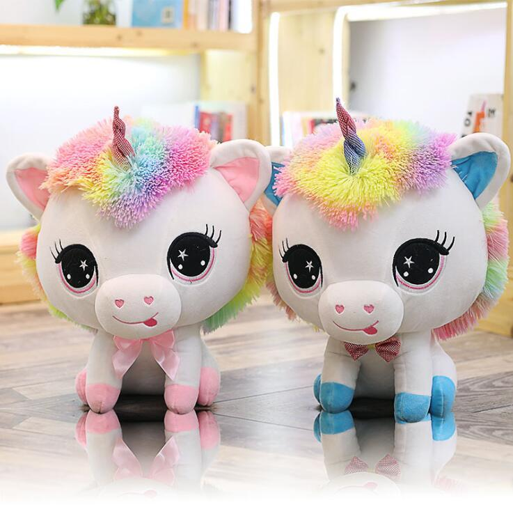 63e83e54279f 35cm Cute Unicorn Plush Toys Stuffed Animals Colorful Big Head Kawaii Soft  Dolls Rainbow Horse For Kids OOA5530 Accessories For 18 Dolls Doll Baby Doll  From ...