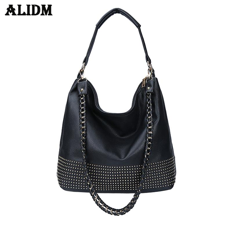 64576a001e9f ALIDM Famous Brand 2018 New Hobos Women Bags Rivet Female Handbags Shoulder  Bag Lady Big Handbag Soft Leather Tote Bags Womens Purses Leather Bags For  Men ...