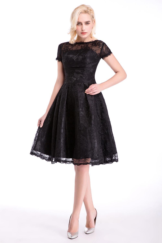6ba4fb6e5d Compre Vestidos De Dama De Honor De Encaje Negro Con Cremallera Espalda  Longitud De La Rodilla Vestido De Fiesta Vestido De Festa De Casamento A   72.0 Del ...