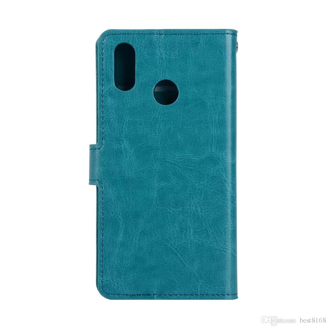 Crazy Horse Leather Wallet Case Pour Huawei Mate 10 Pro Honor V9 7X P20 Lite