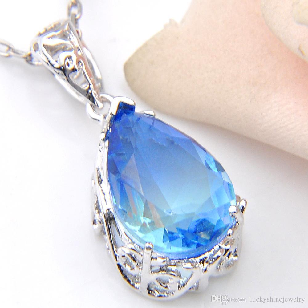 Luckyshien Newest 925 Collar de plata esterlina Waterdrop Tourmaline Océano Azul Colgante Regalo de mujer Colgantes Joyería EngageMets Boda