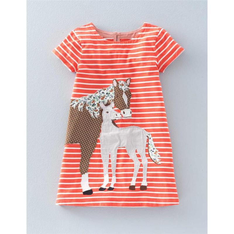 Jumping meters summer Baby girl Dresses striped hot selling children clothes knitted applique animal dinosaur dress girl