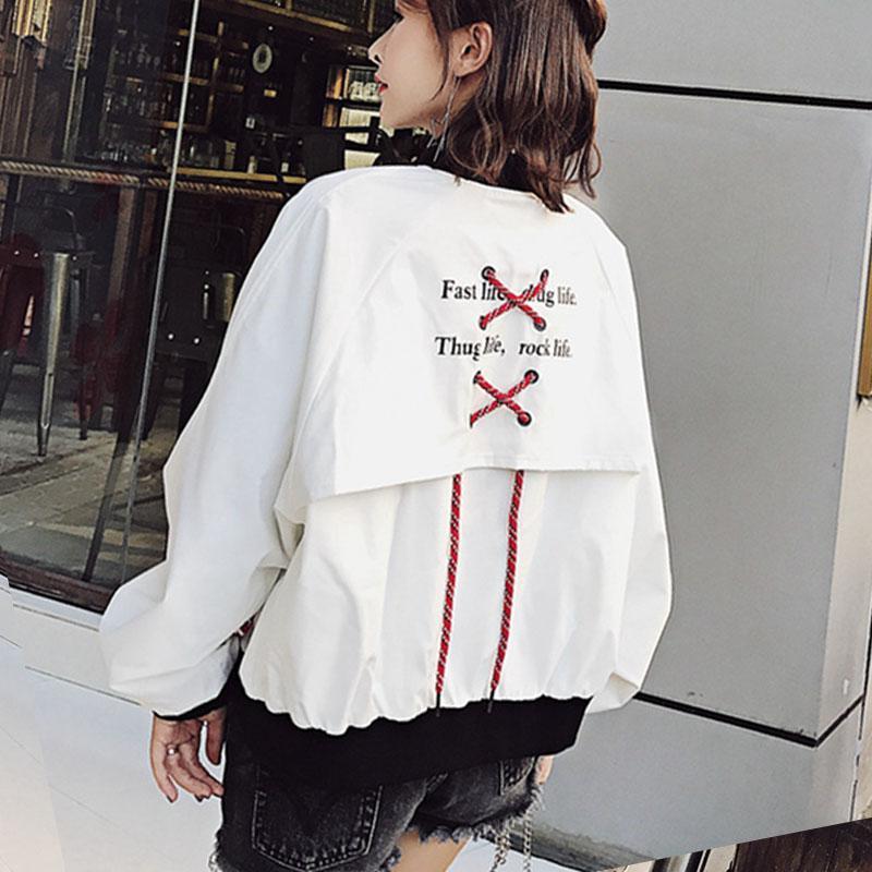 Acheter Harajuku Blouson Aviateur Femme Printemps 2018 Vestes Hip Hop Rock  Femme Manchon Ruban Patchwork Manteaux Plus La Taille Kpop Cardigans De  $33.75 Du ...