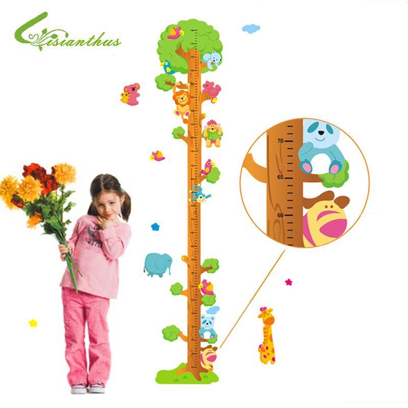2017 New Giraffe Lion Bear Catroon Measure Height Sticker Wall Sticker home Decor For Rooms Kids Height Ruler Stadiometer