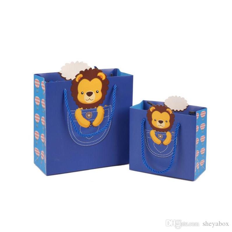 Retail Shop Paper Packing Bags with Handle Thanksgiving Children's Fashion Jewelry Clothes Gift Packaging Carrying Bags Lovely Animals Print