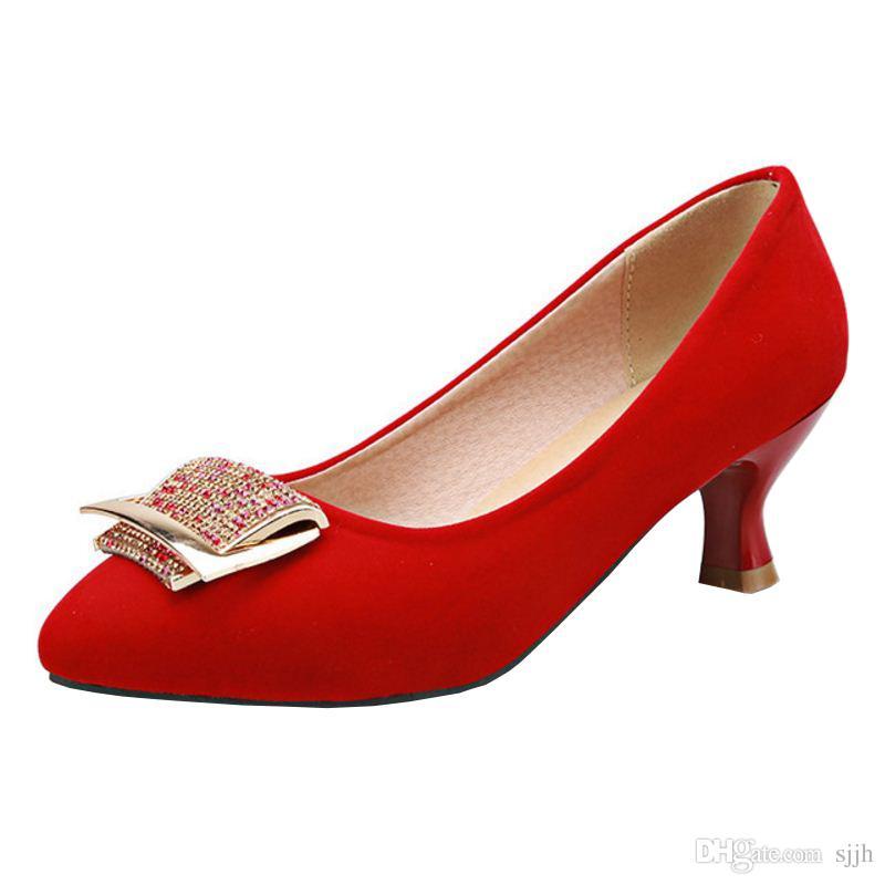 SJJH Mode Femmes Élégant Chunky Talon Pompes avec Bout Pointu Confortable Chaussures de Travail avec Grande Taille Disponible A014