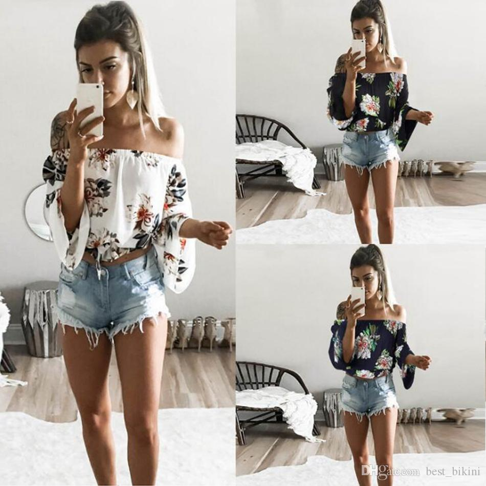 Women Floral Off Shoulder Blouse Casual Crop Top Summer Long Sleeve Tee T  Shirt Strapless Casual Loose Tops LJJO4526 Ti Shirt Best T Shirt Sites From  ... 5c7ad9aa88