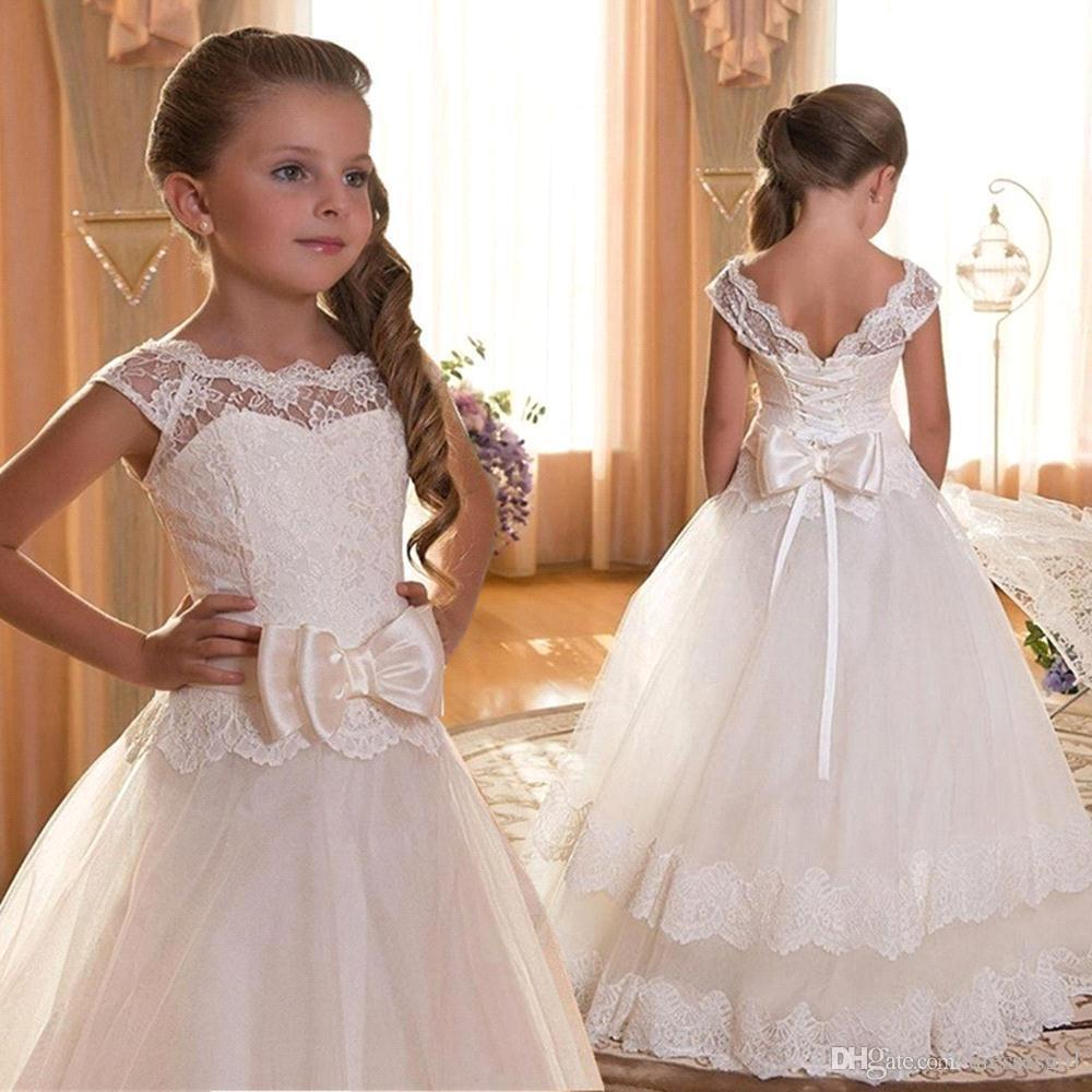Cheap White Flower Girls Dresses Tulle Lace A Line Formal Kids Wear