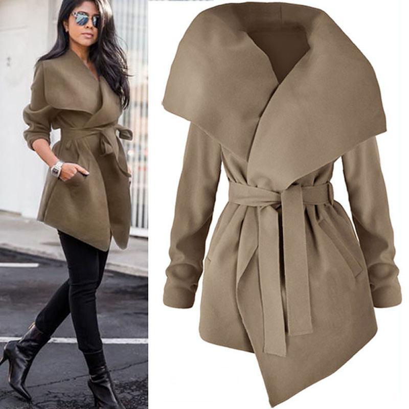 Acquista Trench Coat Donna Bavero Elegante Cappotto Lungo Lana Lace Up  Cappotto Capispalla 2018 Autunno Primaverile Moda Cappotto Vento Cardigan  Soprabito ... 9a52b4829370