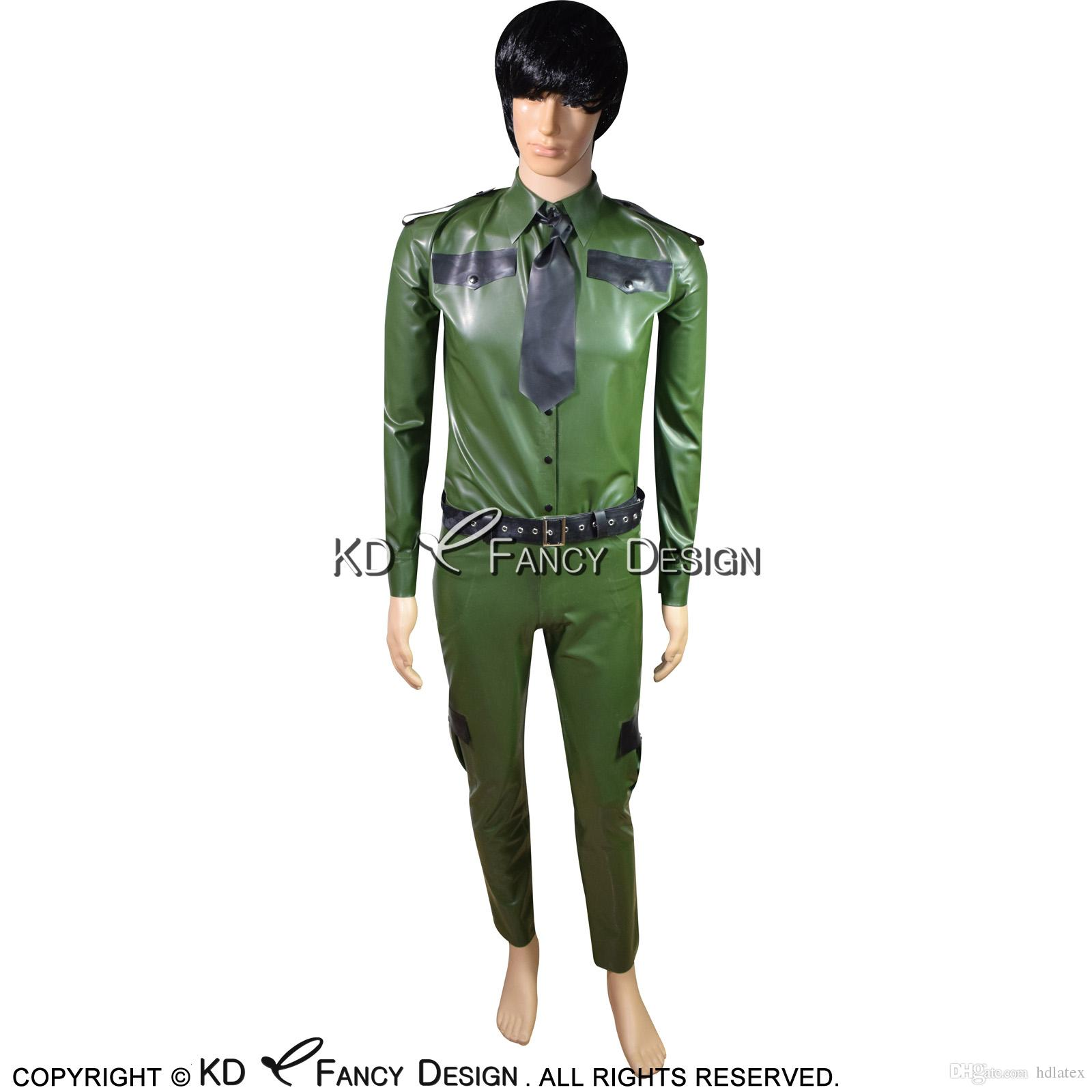 2019 Military Olive Green With Black Sexy Latex Uniform With Rubber