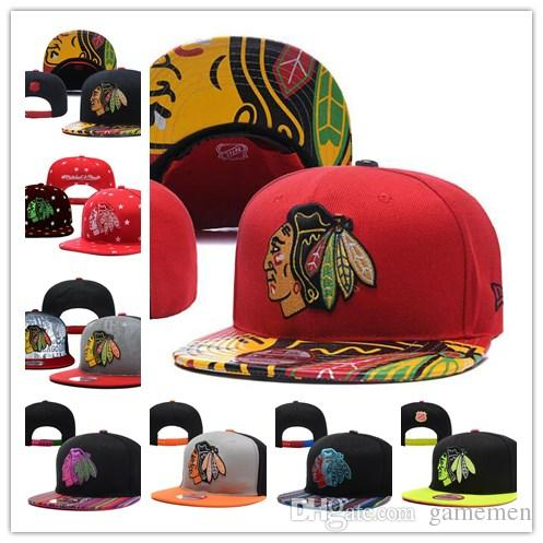 c7d8cdf66 Hat CHICAGO BLACKHAWKS Ice Hockey Knit Beanies Embroidery Adjustable cap  Embroidered Snapback Caps Black Gray White Stitched Hats One Size