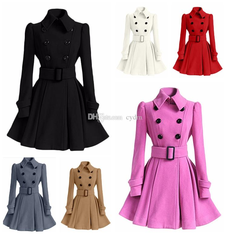 a9c17f1f0 European style autumn winter paragraph solid color lapel long sleeves wool  coat belt buckle windbreaker,support mixed batch
