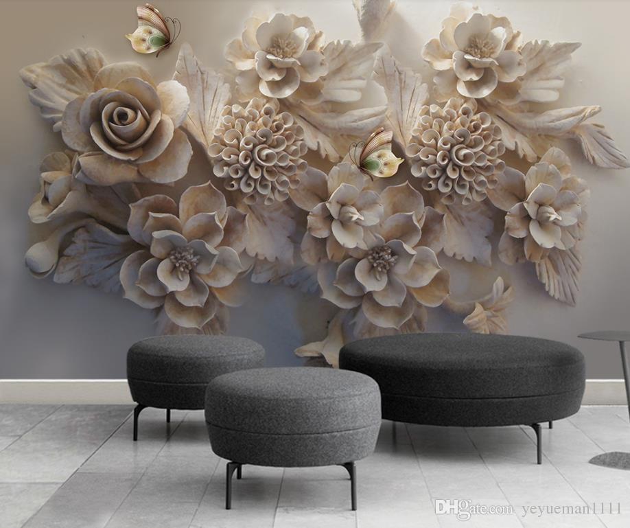Großhandel Benutzerdefinierte Moderne Tapete Blume Schmetterling