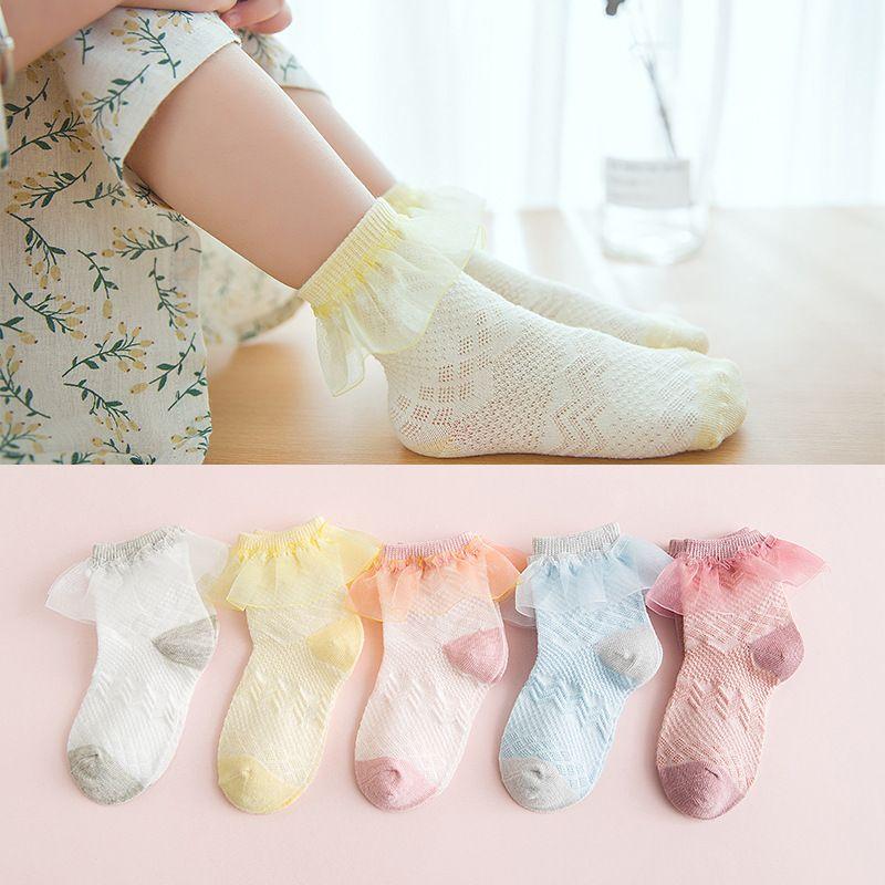 Sommer-Baby-Kleinkind-Baumwollspitze Rüschen Princess Mesh-Socken Söckchen  ^
