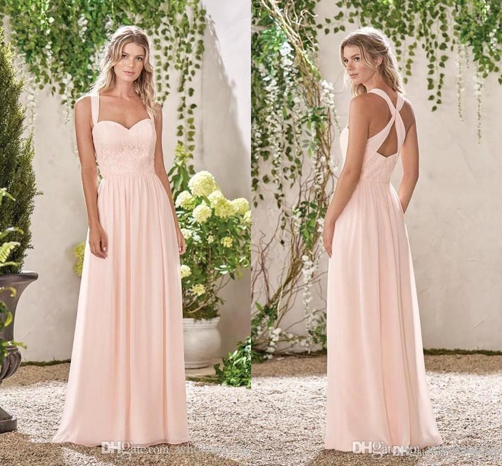 Light Pink Straps Sweetheart Floor Length Bridesmaid Dresses 2019 Lace Top  A Line Chiffon Maid Of Honor Wedding Guest Party Wear BC0139 White Dresses  Formal ... 53cb10abc722