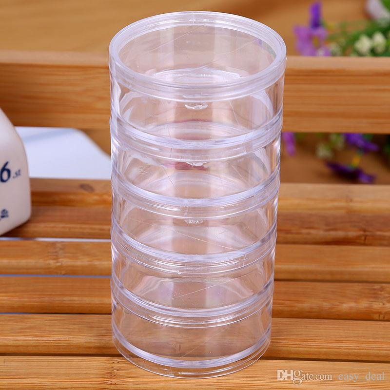 7x7x13.5cm Transparent Plastic Cosmetic Storage Containers Minerals Display Clear Makeup Stackable Small Jar 5 layer LZ1365