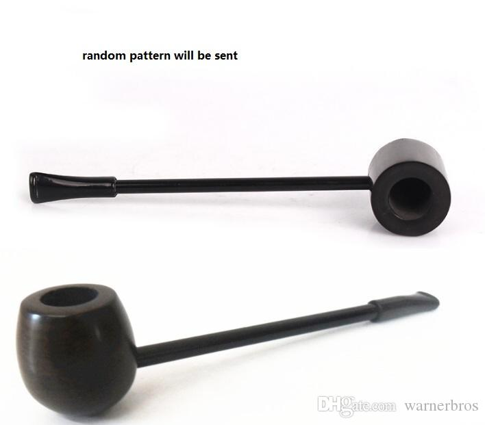 USA China black wood tobacco pipe classic straight pole Popeye type ebony smoking pipes wooden herb cigarette holder mouth tip