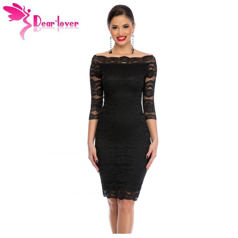 7847a36e80fc3 Dear-Lover Office Ladies Dress Party Slash Nech Black Lace Scalloped Off  Shoulder Midi Dress Fall Vestido de Renda Festa LC61291