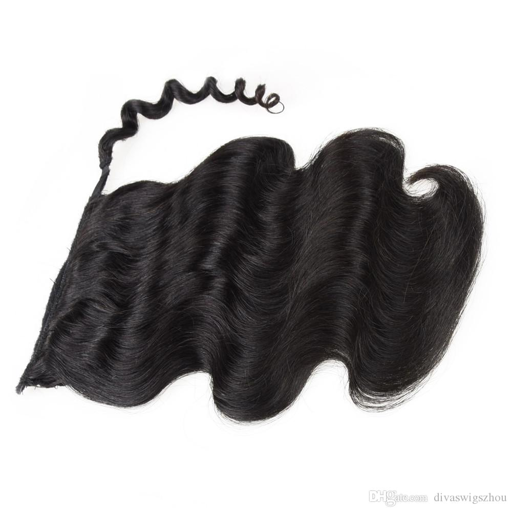 Rihanna Hairsyle Brazilian hair Ponytail Human Hair Ponytails 20 22inch 120g Wet Wavy Indian Clip Hair Extensions more color