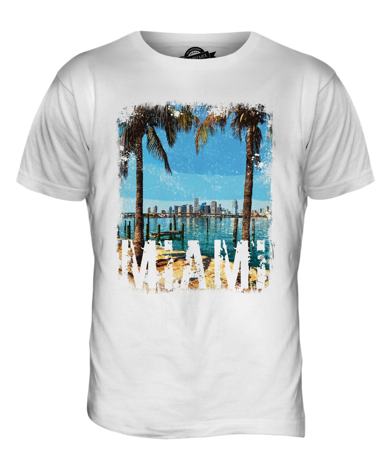3fac1d068 MIAMI GRUNGE PRINT MENS T-SHIRT TOP BEACH FLORIDA WHITE SHORT SLEEVE TOP  Online with $12.99/Piece on Uniquedesigntee's Store | DHgate.com