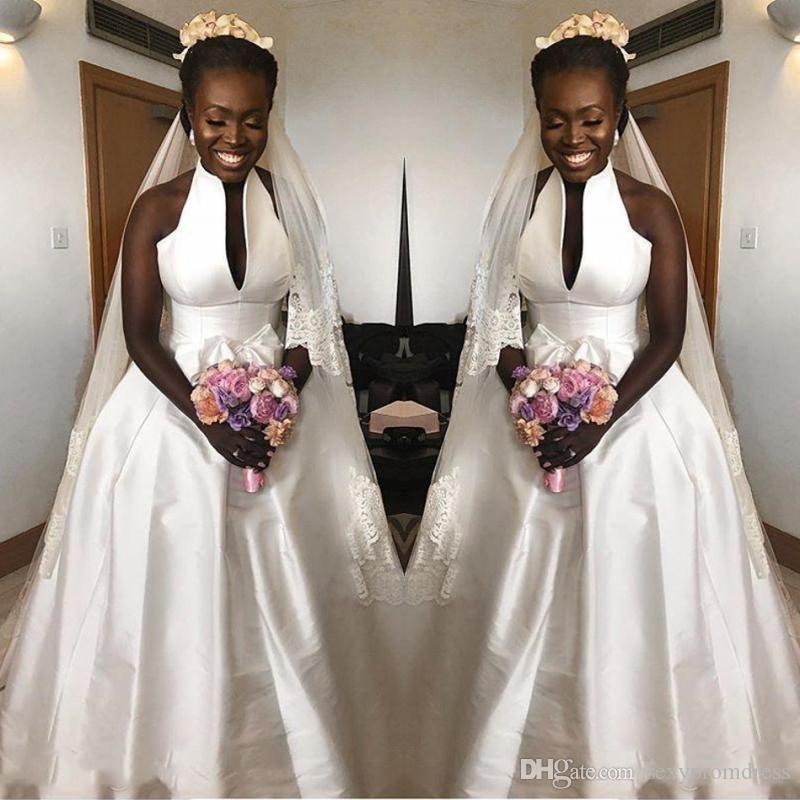 e8d53dcbd1ea Discount Simple Satin Wedding Dresses 2018 2019 Spring Summer Halter A Line Bridal  Gowns South African Floor Length Wedding Vestidos Custom Made Best ...