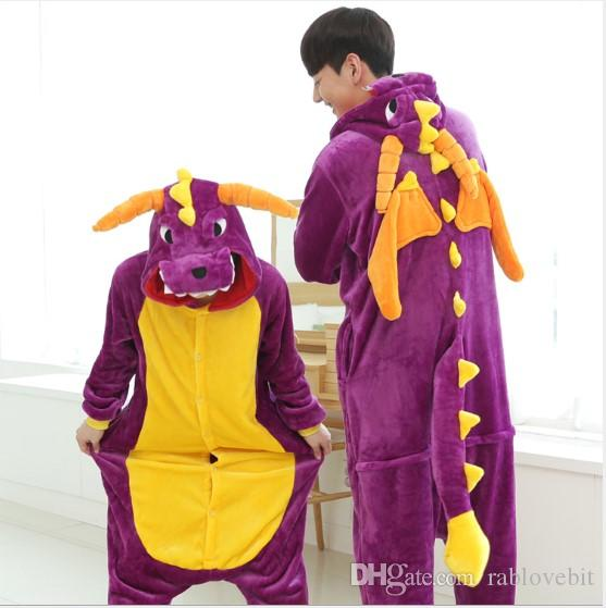 d525d1a4410e 2019 Wholesale Animal Stitch Purple Dinosaur Onesie Adult Unisex Cosplay  Costume Pajamas Sleepwear For Men Women From Rablovebit
