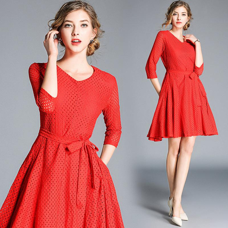 0fee77d88f2e 2019 Party Lace Dresses Women Going Out Dresses With Bow Vintage Hollow Out  Long Sleeve Casual Red Dress From Sinofashion, $37.85 | DHgate.Com