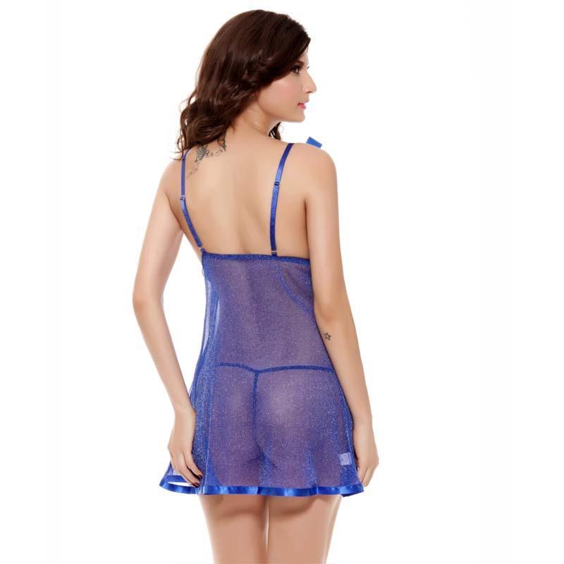 Mavi Siyah Kırmızı Örgü Dantel Halter V Boyun Slip Gece elbise See Through Sexy Lingerie Backless Nightgowns Kadın Pijama Gece Giyim