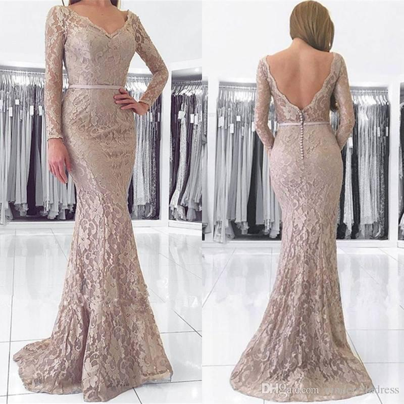 Robe de Soiree V Neck Full Lace 2018 Evening Dresses V neck With Ribbon Sash Long Sleeves Brush Train Prom Gowns