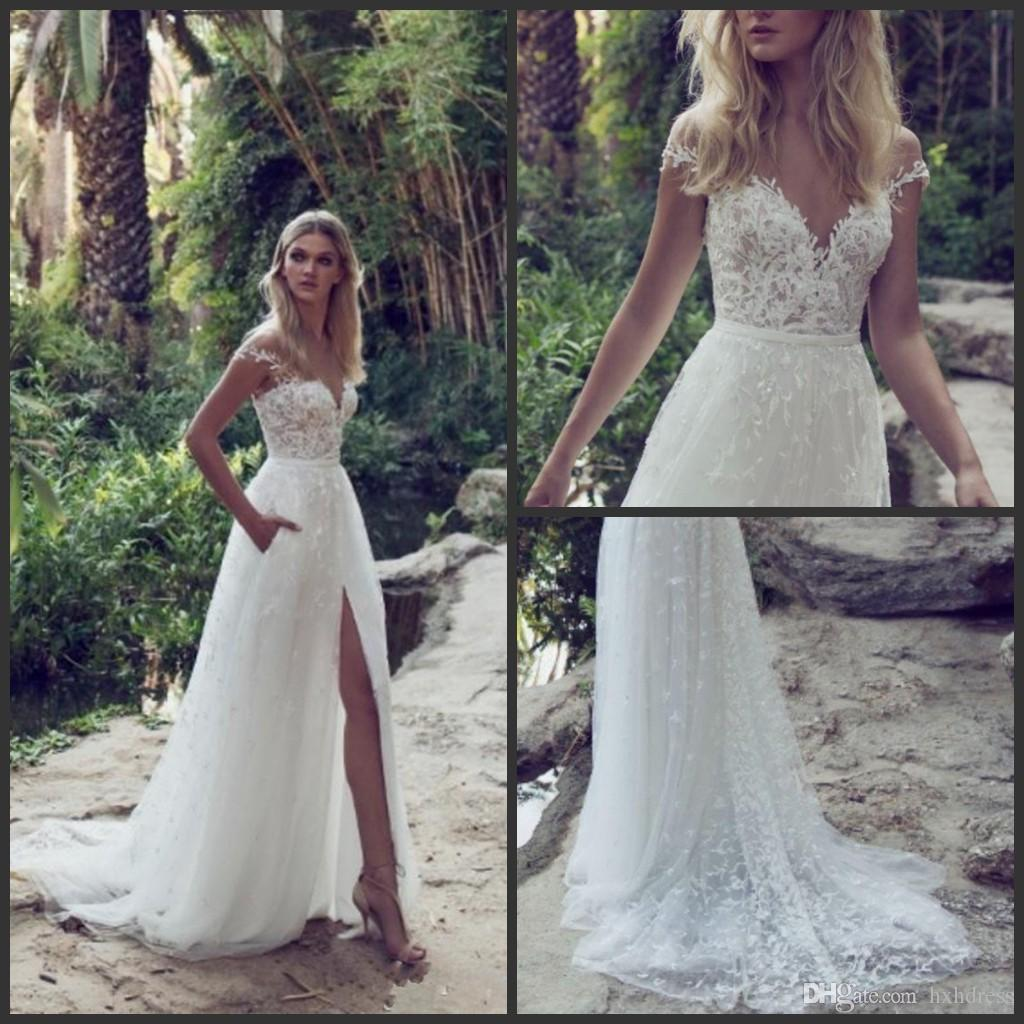 Beach Wedding Gown: Discount 2019 Fashion Beach Wedding Dresses With Pockets