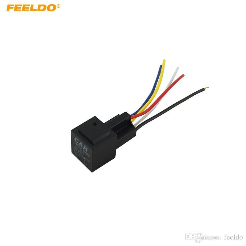 FEELDO 12V 40A Car Auto 5 Wire Terminal Relay Socket Harness Wiring