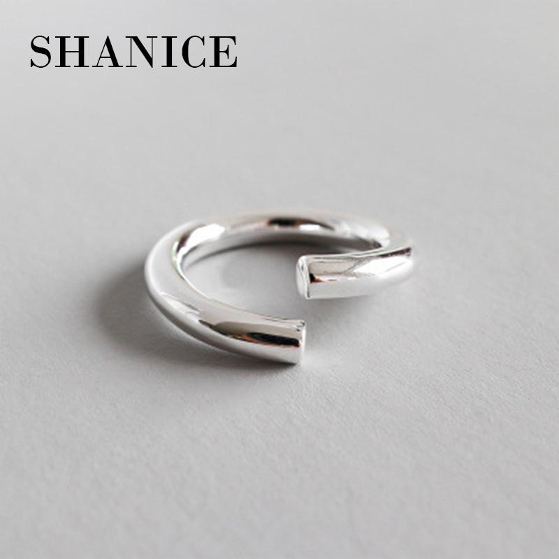 SHANICE Charm Jewelry 925 Sterling Silver Open Ring For Women The Solid Thick Line OF The Oppening Ring For Girl Bijoux Femme D18111306
