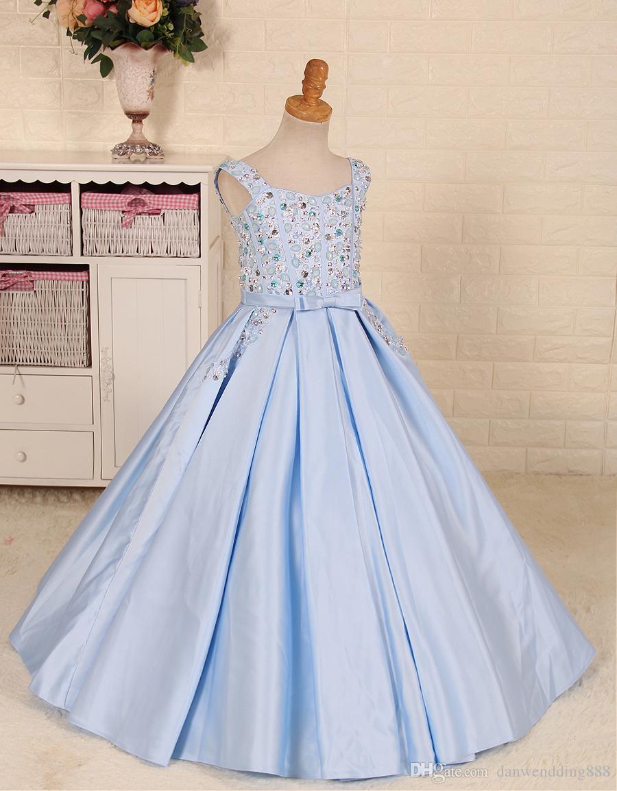 Lovely Baby Blue Satin Straps Beads Flower Girl Dresses Princess Dresses Girl's Pageant Dresses Custom Made Size 2-6 8 10 12 14 KF420416